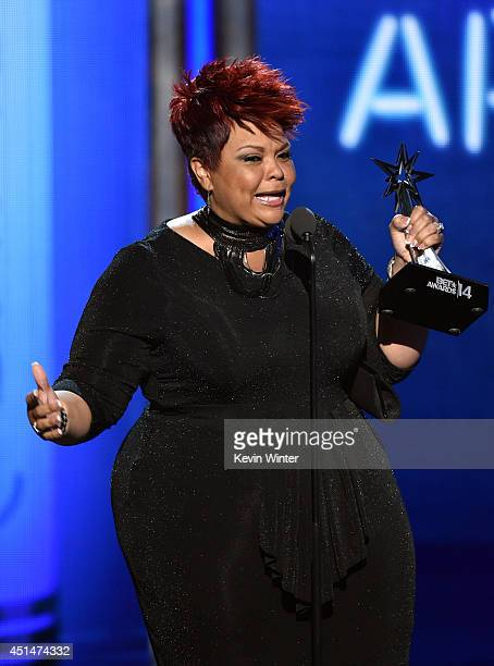 Singer Tamela Mann accepts Best Gospel Artist onstage during the BET AWARDS '14 at Nokia Theatre LA LIVE on June 29 2014 in Los Angeles California