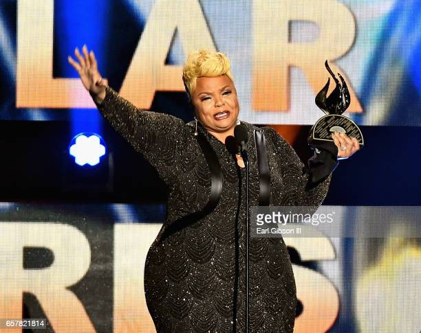 Singer Tamela Mann accepts the award for Female Vocalist of the Year during the 32nd annual Stellar Gospel Music Awards at the Orleans Arena on March...
