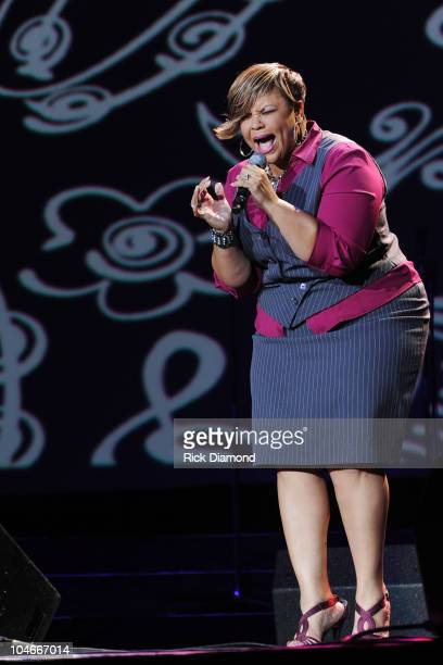 Singer Tamela Mann performs onstage during Verizon's How Sweet The Sound 2010 at Phillips Arena on October 2 2010 in Atlanta Georgia