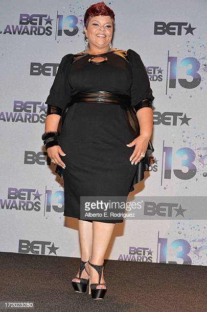 Singer Tamela Mann poses in the press room during the 2013 BET Awards at Nokia Theatre LA Live on June 30 2013 in Los Angeles California