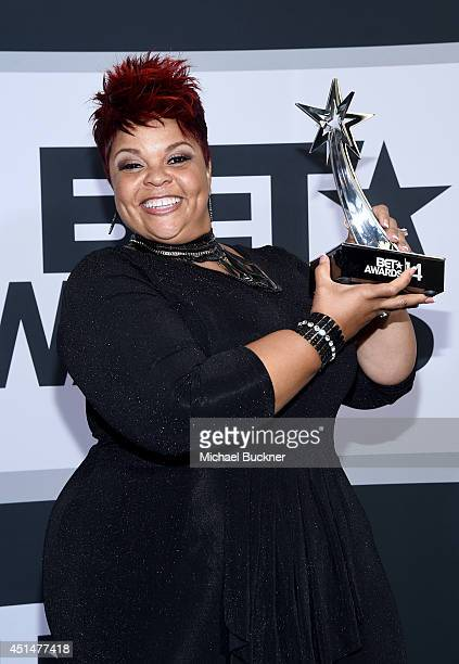 Singer Tamela Mann poses in the press room during the BET AWARDS '14 at Nokia Theatre LA LIVE on June 29 2014 in Los Angeles California