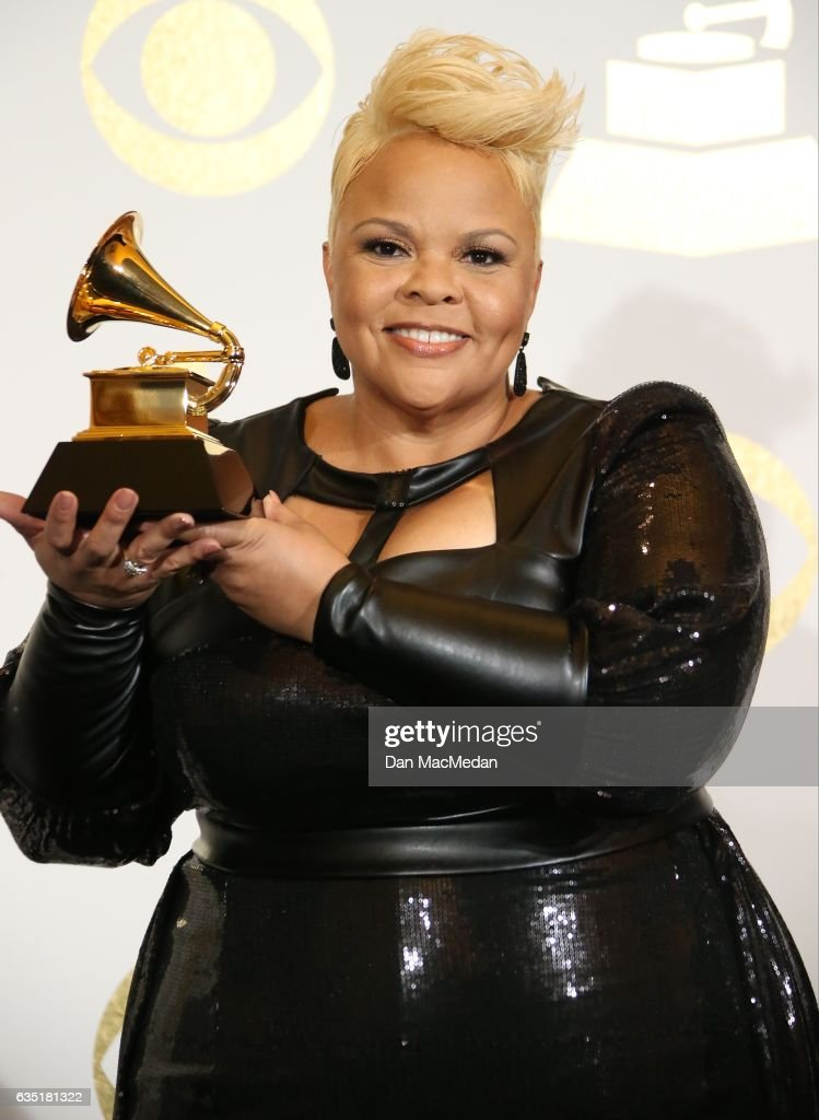 Singer Tamela Mann poses in the press room with her award for Best Gospel Performance/Song for 'God Provides' at The 59th GRAMMY Awards at Staples Center on February 12, 2017 in Los Angeles, California.