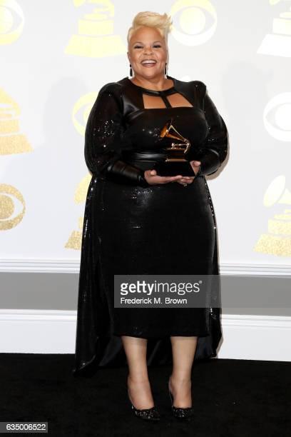 Singer Tamela Mann winner of Best Gospel Performance/Song for 'God Provides' poses in the press room during The 59th GRAMMY Awards at STAPLES Center...