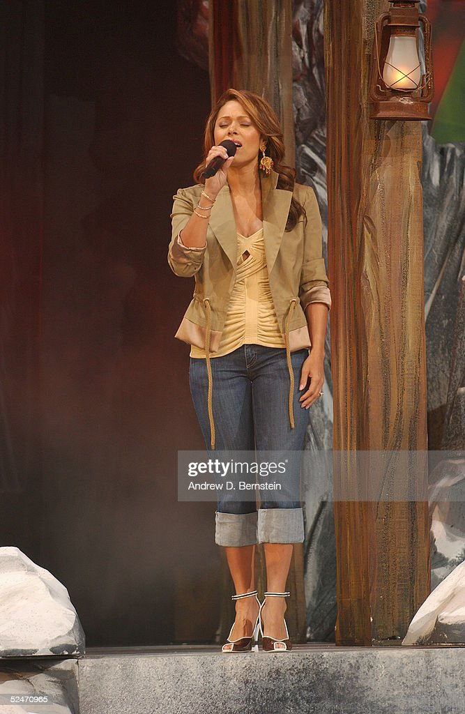 Singer Tamia performs the Canadian National Anthem before the 54th All-Star Game, part of 2005 NBA All-Star Weekend at Pepsi Center on February 20, 2005 in Denver, Colorado. The East defeated the West 125-115.