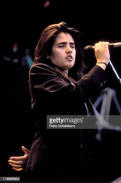 Singer Tanita Tikaram performs live on stage at Pinkpop festival in Landgraaf, Netherlands on 15th May 1989.