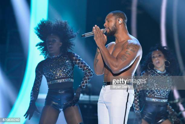Singer Tank performs during the 2017 Soul Train Music Awards at the Orleans Arena on November 5 2017 in Las Vegas Nevada