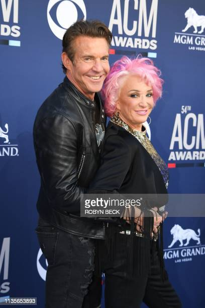 US singer Tanya Tucker and US actor Dennis Quaid arrive for the 54th Academy of Country Music Awards on April 7 at the MGM Grand Garden Arena in Las...