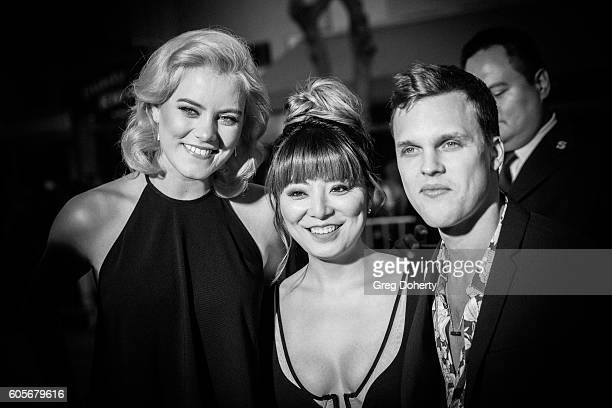 Singer Taya Smith Jihea Oh and Singer/Guitarist Dylan Thomas attend the Premiere Of Pure Flix Entertainment's Hillsong Let Hope Rise at the Mann...