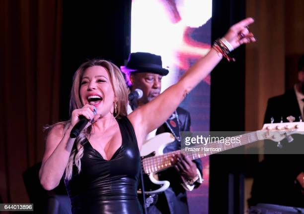 Singer Taylor Dayne performs onstage during the 14th Annual Global Green Pre Oscar Party at TAO Hollywood on February 22 2017 in Los Angeles...
