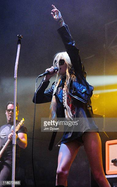 Singer Taylor Momsen of The Pretty Reckless performs live on stage during the third day of the Wireless Festival at Hyde Park on July 3 2011 in...