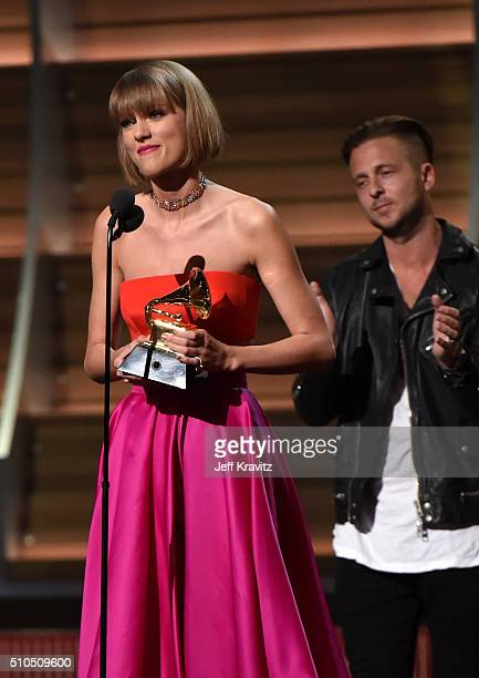 Singer Taylor Swift accepts the Album of the Year award for 1989 onstage during The 58th GRAMMY Awards at Staples Center on February 15 2016 in Los...