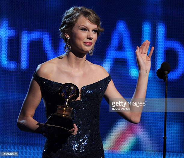Singer Taylor Swift accepts the Best Country Album award onstage during the 52nd Annual GRAMMY Awards held at Staples Center on January 31 2010 in...
