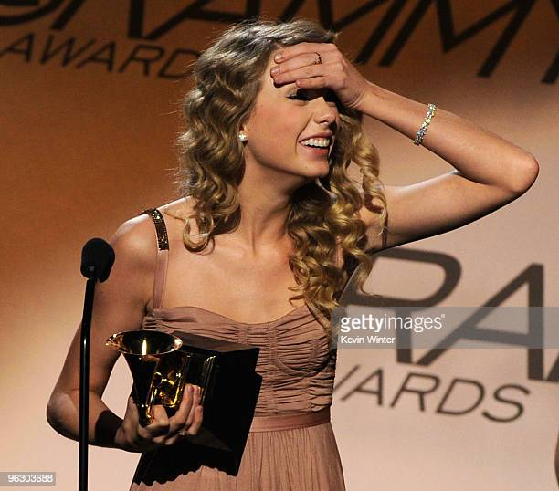Singer Taylor Swift accepts the Female Country Vocal Performance award onstage during the 52nd Annual GRAMMY Awards pretelecast show held at Staples...