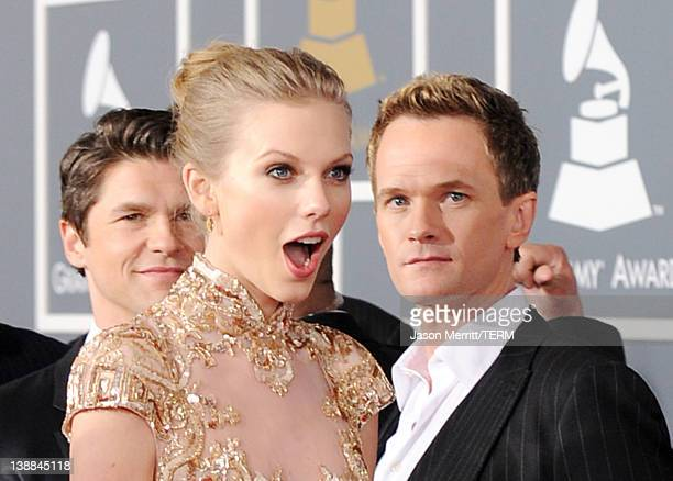 Singer Taylor Swift and actor Neil Patrick Harris arrive at the 54th Annual GRAMMY Awards held at Staples Center on February 12 2012 in Los Angeles...