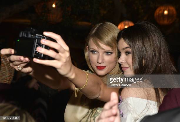 Singer Taylor Swift and actress Hailee Steinfeld attend the premiere of Relativity Media's 'Romeo And Juliet' after party at Soho House on September...