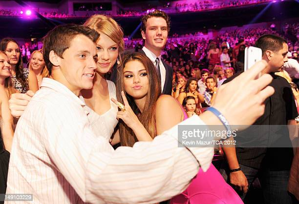 Singer Taylor Swift and actress Selena Gomez attend the 2012 Teen Choice Awards at Gibson Amphitheatre on July 22 2012 in Universal City California