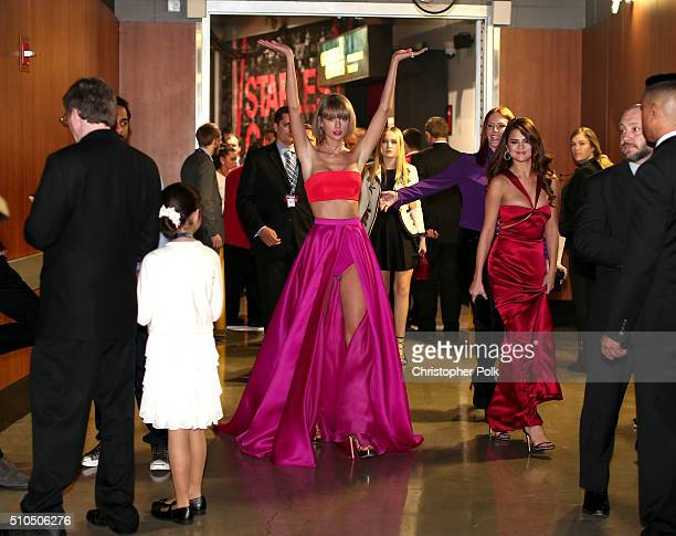 Singer Taylor Swift and Selena Gomez attend The 58th GRAMMY Awards at Staples Center on February 15 2016 in Los Angeles California