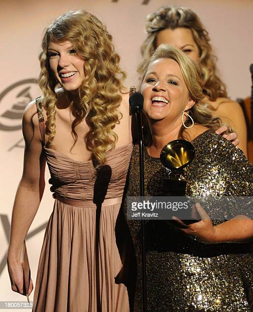 Singer Taylor Swift and songwriter Liz Rose speak onstage during the 52nd Annual GRAMMY Awards pretelecast held at Staples Center on January 31 2010...
