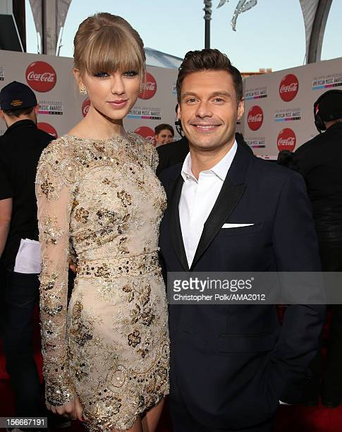 Singer Taylor Swift and television personality Ryan Seacrest attend the 40th American Music Awards held at Nokia Theatre LA Live on November 18 2012...