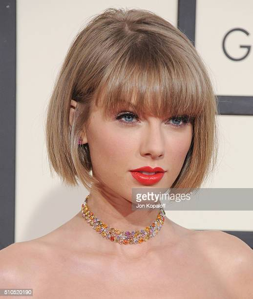 Singer Taylor Swift arrives at The 58th GRAMMY Awards at Staples Center on February 15 2016 in Los Angeles California