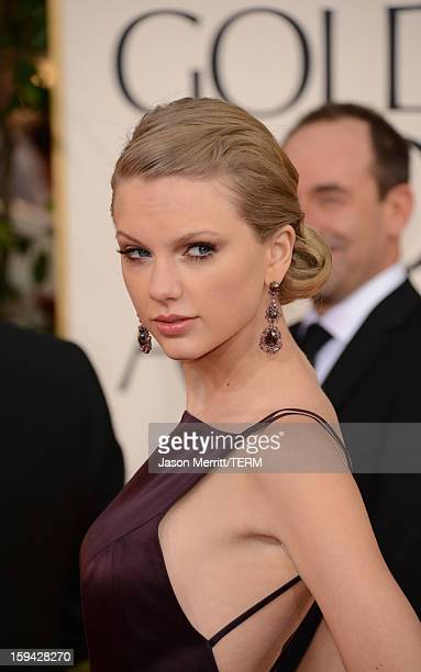 Singer Taylor Swift arrives at the 70th Annual Golden Globe Awards held at The Beverly Hilton Hotel on January 13 2013 in Beverly Hills California