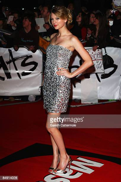 Singer Taylor Swift arrives at the Brit Awards 2009 at Earls Court on February 18, 2009 in London, England.