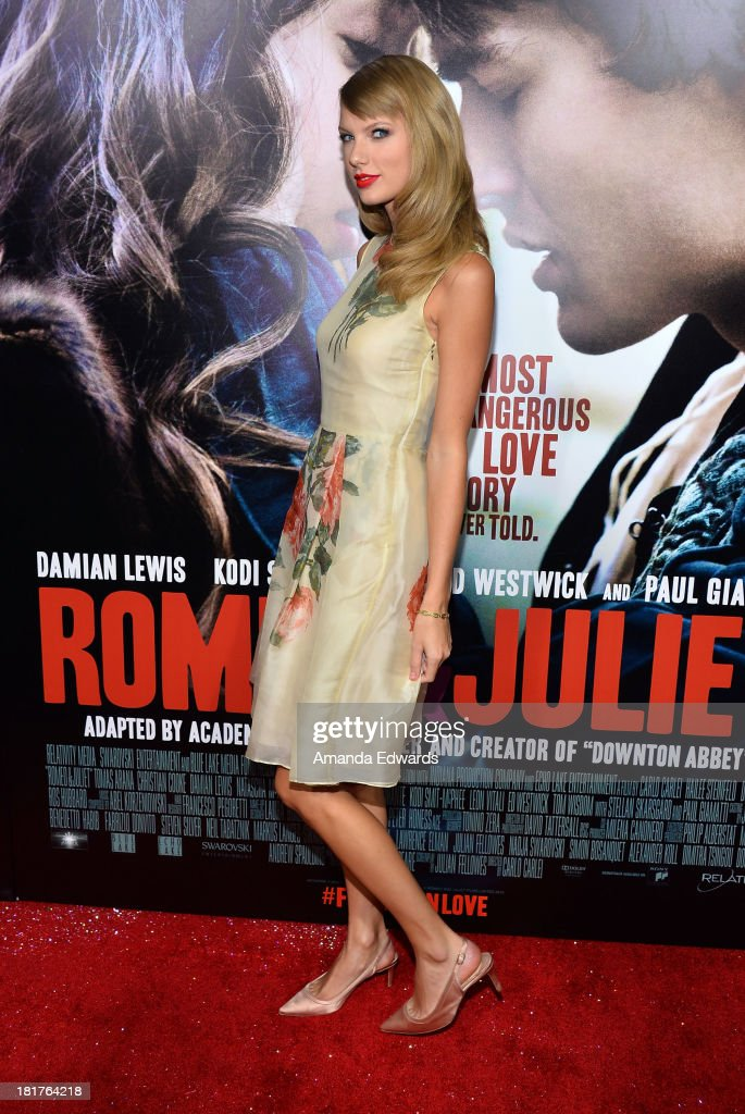 Singer Taylor Swift arrives at the world premiere of 'Romeo and Juliet' at the ArcLight Hollywood on September 24, 2013 in Hollywood, California.