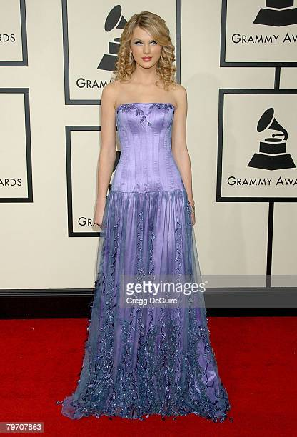 Singer Taylor Swift arrives to the 50th Annual GRAMMY Awards at the Staples Center on February 10 2008 in Los Angeles California