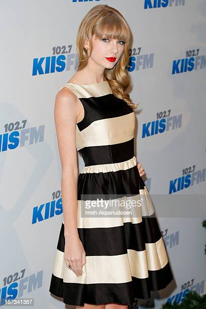 Singer Taylor Swift attends KIIS FM's 2012 Jingle Ball at Nokia Theatre LA Live on December 1 2012 in Los Angeles California