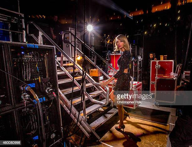 Singer Taylor Swift backstage at KIIS FM's Jingle Ball 2014 powered by LINE at Staples Center on December 5 2014 in Los Angeles California