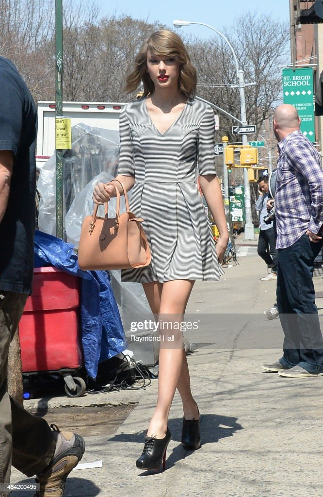 Singer Taylor Swift is seen on set of Ed Sheeran music video set ion April 11, 2014 in New York City.