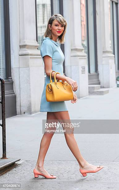 Singer Taylor Swift is seen walking in Soho on April 19, 2015 in New York City.