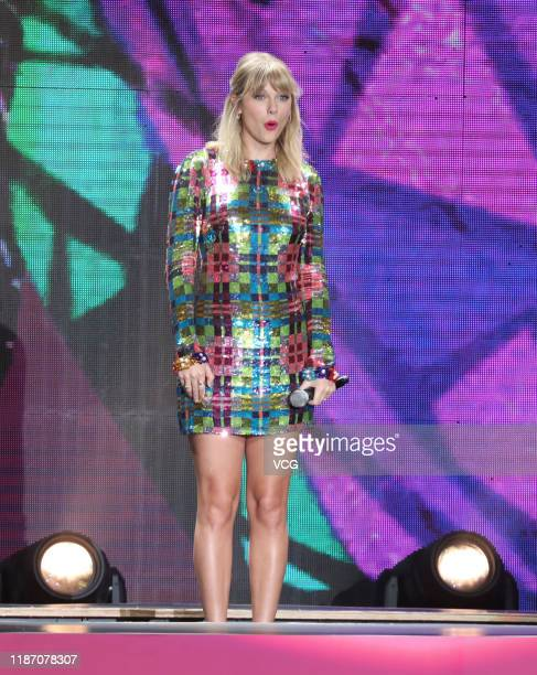 Singer Taylor Swift meets fans at Tianhe Sports Center on November 11 2019 in Guangzhou Guangdong Province of China