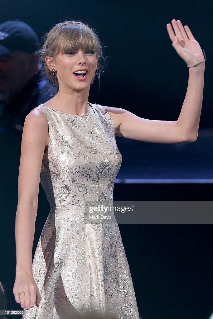Singer Taylor Swift onstage during the 55th Annual GRAMMY Awards Pre-Telecast at Nokia Theatre L.A. Live on February 10, 2013 in Los Angeles, California.