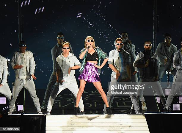 Singer Taylor Swift performs at Gillette Stadium on July 25, 2015 in Foxboro, Massachusetts.