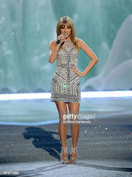 Singer Taylor Swift performs at the 2013 Victoria's Secret Fashion Show at Lexington Avenue Armory on November 13 2013 in New York City