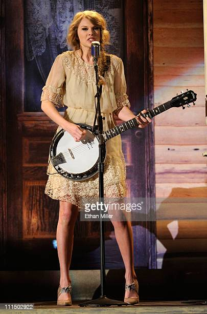 Singer Taylor Swift performs onstage at the 46th Annual Academy of Country Music Awards held at the MGM Grand Garden Arena on April 3 2011 in Las...