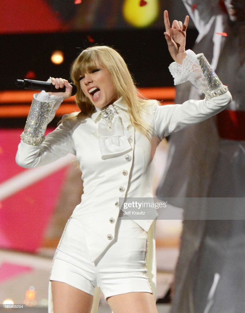 Singer Taylor Swift performs onstage at the 55th Annual GRAMMY Awards at Staples Center on February 10, 2013 in Los Angeles, California.