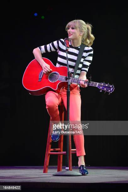 Singer Taylor Swift performs onstage at the Prudential Center on March 28 2013 in Newark New Jersey Seventime GRAMMY winner Taylor Swift plays 3...