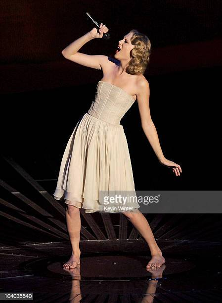 Singer Taylor Swift performs onstage during the 2010 MTV Video Music Awards at NOKIA Theatre LA LIVE on September 12 2010 in Los Angeles California