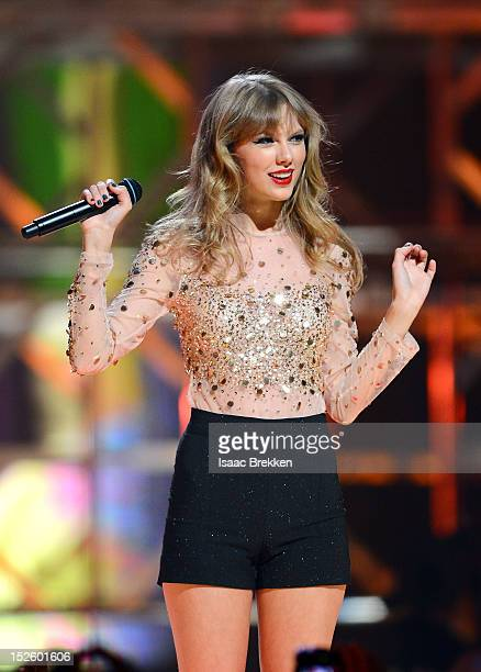 Singer Taylor Swift performs onstage during the 2012 iHeartRadio Music Festival at the MGM Grand Garden Arena on September 22 2012 in Las Vegas Nevada