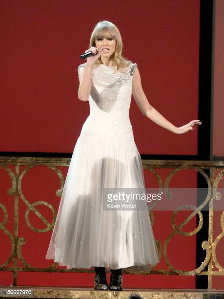 Singer Taylor Swift performs onstage during the 40th American Music Awards held at Nokia Theatre LA Live on November 18 2012 in Los Angeles California