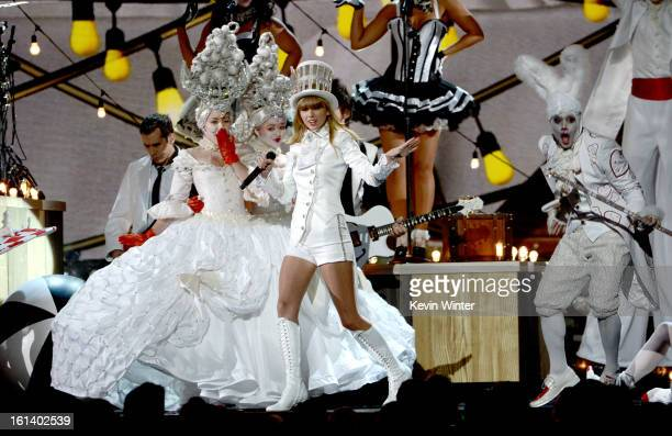 Singer Taylor Swift performs onstage during the 55th Annual GRAMMY Awards at STAPLES Center on February 10 2013 in Los Angeles California