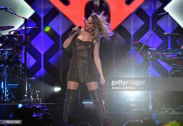 Singer Taylor Swift performs onstage during the Z100's iHeartRadio Jingle Ball 2019 at Madison Square Garden in New York on December 13, 2019.