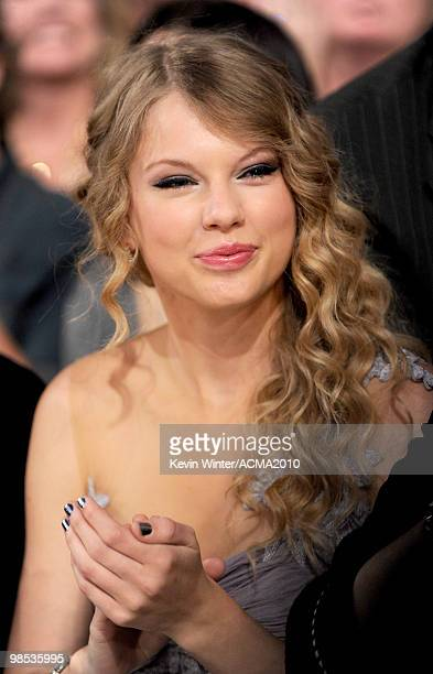 Singer Taylor Swift poses in the audience during the 45th Annual Academy of Country Music Awards at the MGM Grand Garden Arena on April 18 2010 in...