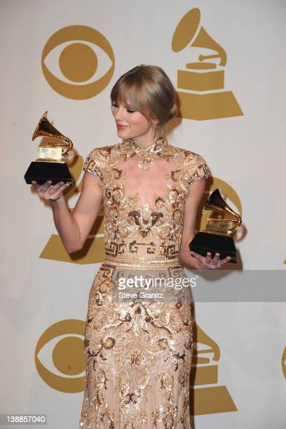 Singer Taylor Swift poses in the Media Center during the 54th Annual GRAMMY Awards at Staples Center on February 12, 2012 in Los Angeles, California.