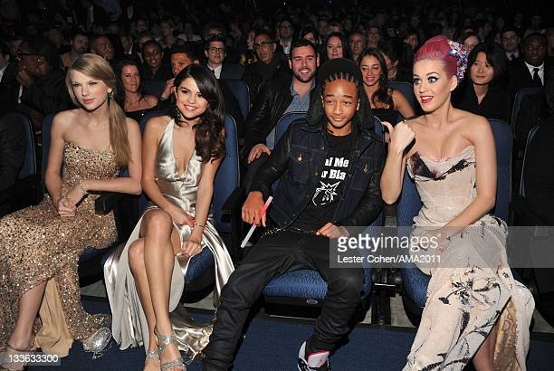 Singer Taylor Swift singer Selena Gomez actor Jaden Smith and singer Katy Perry at the 2011 American Music Awards held at Nokia Theatre LA LIVE on...