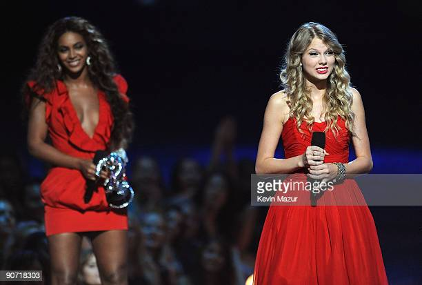 Singer Taylor Swift speaks onstage after Beyonce allowed her to finish her speech that was interrupted by Kanye West earlier in the showd during the...