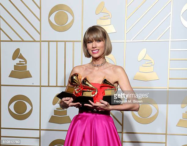 Singer Taylor Swift winner of the awards for Album of the Year and Best Pop Album for 1989 and Best Music Video for Bad Blood poses in the press room...