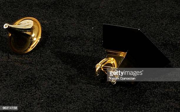 Singer Taylor Swift's broken award is seen in the press room during the 52nd Annual GRAMMY Awards held at Staples Center on January 31 2010 in Los...